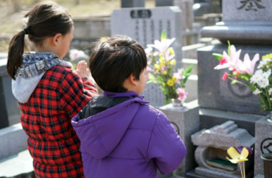 A visit to a grave
