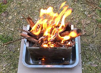 自宅で焚き火